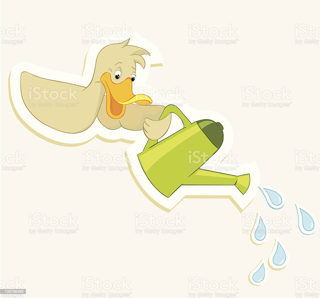 Duck and watering can vector art illustration