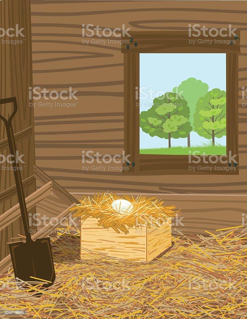 Duck Egg Sitting In A Nest Box vector art illustration