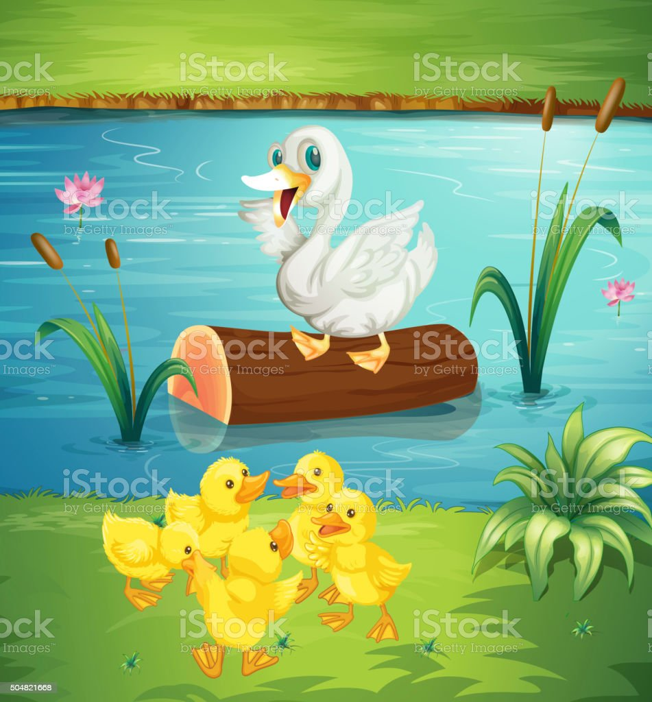 Duck family by the river vector art illustration
