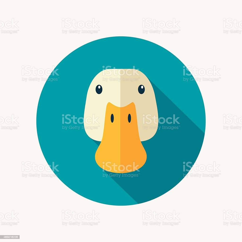 Duck flat icon with long shadow vector art illustration