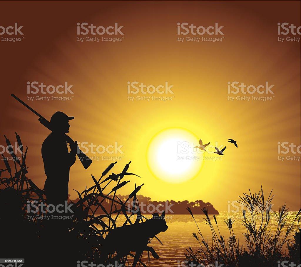 Duck Hunter at Sunset Background vector art illustration