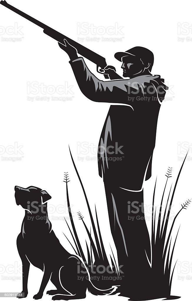Duck Hunter vector art illustration