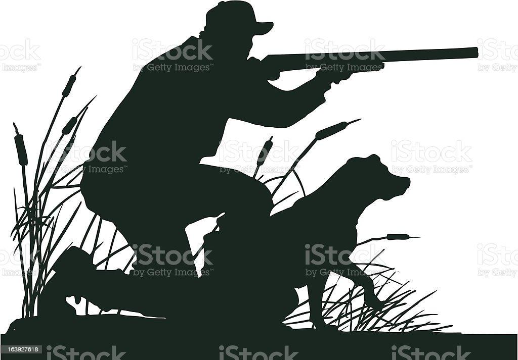 Duck Hunter with Retrieving Dog Silhouette vector art illustration