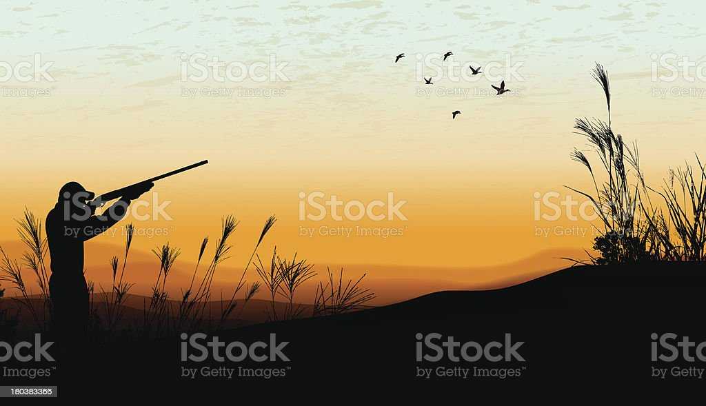 Duck Hunting Background - Hunter vector art illustration