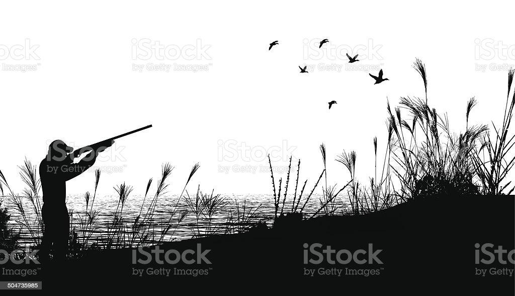 Duck Hunting Background vector art illustration