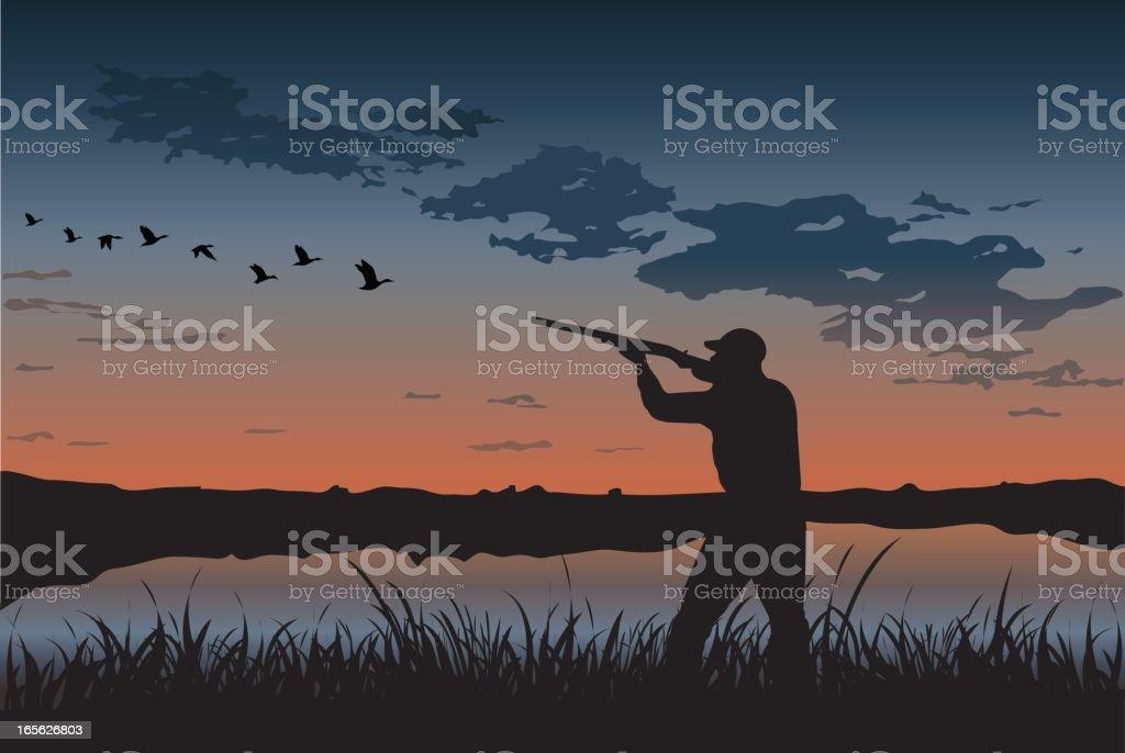Duck Hunting vector art illustration