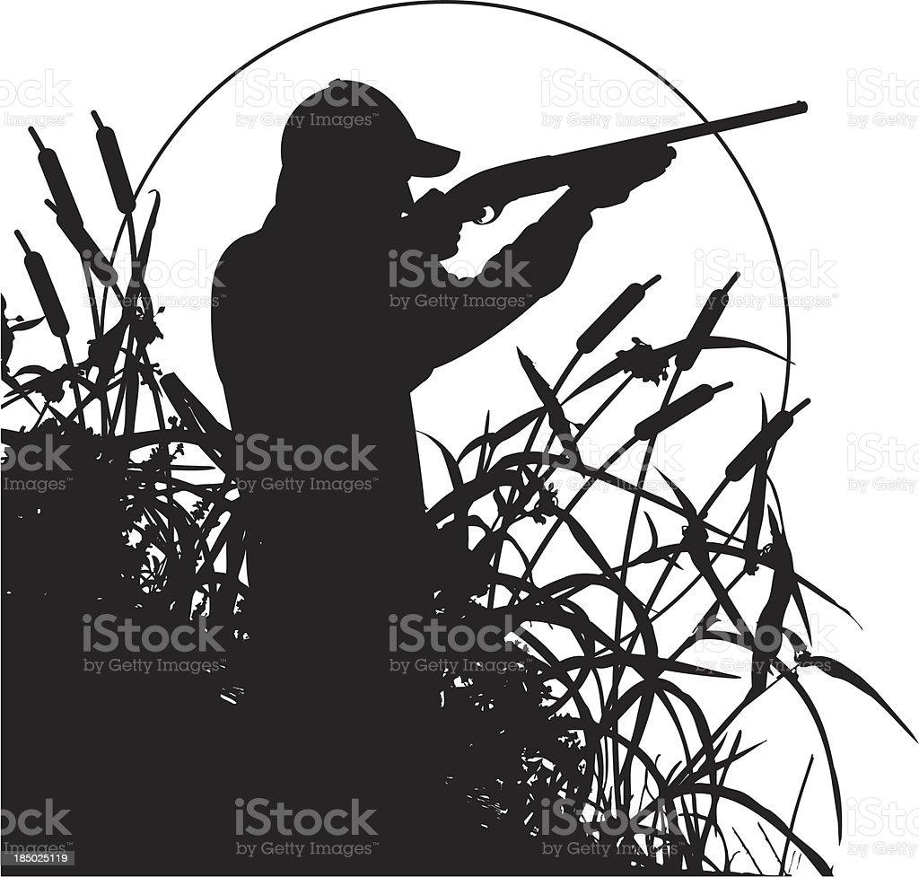 Duck or Pheasant Hunter vector art illustration