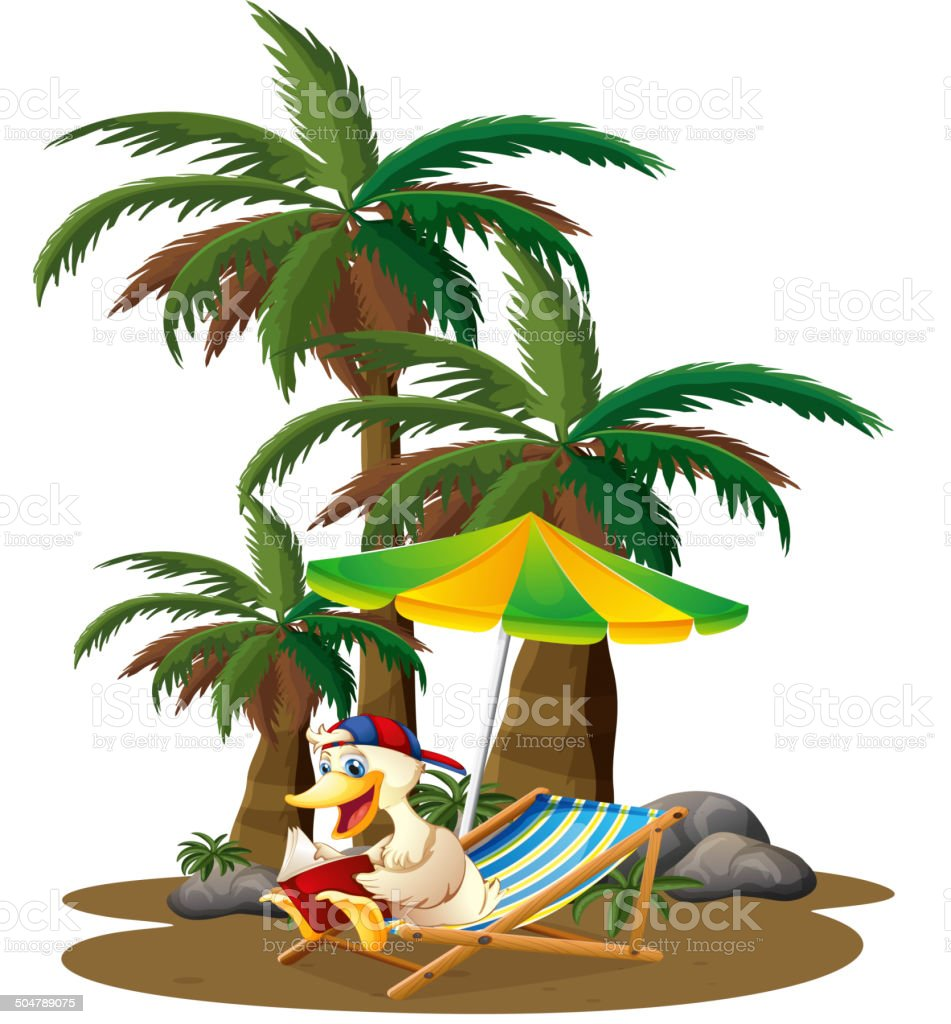 Duck reading near the palm trees royalty-free stock vector art