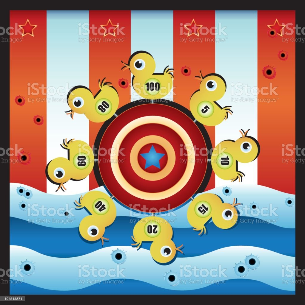 duck shooting gallery vector art illustration