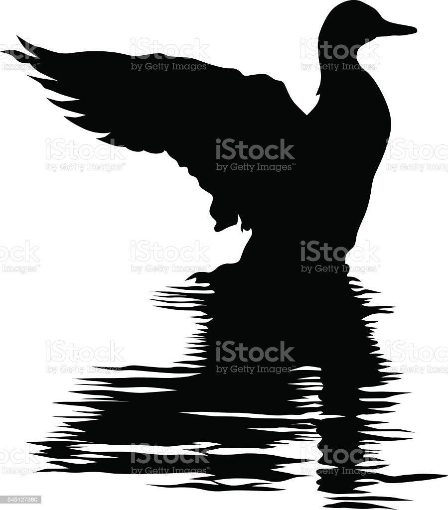 Duck sitting on water vector art illustration