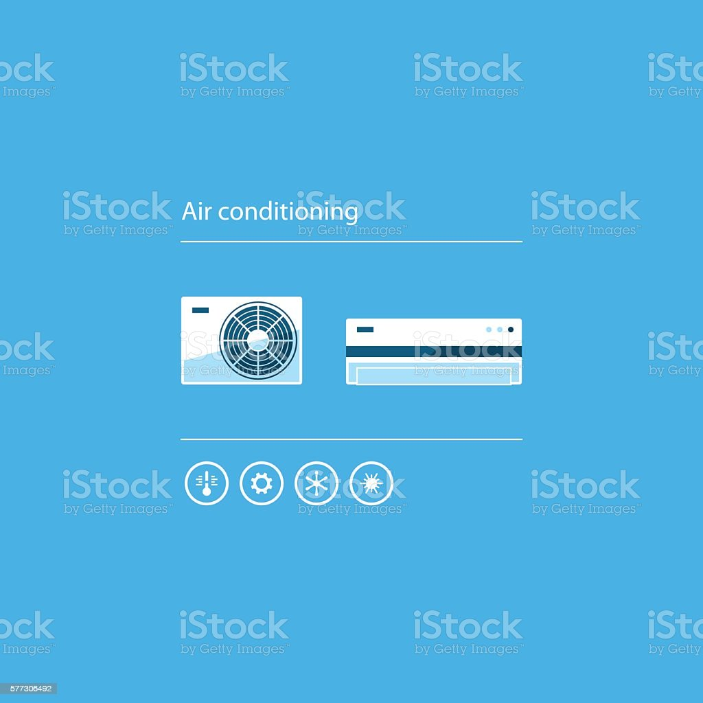 Ductless cooling and heating systems, home air conditioning service icons vector art illustration