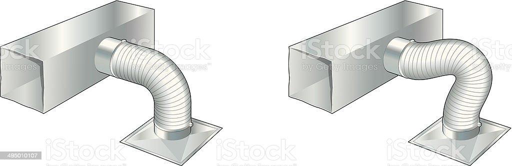 Ductwork, air conditioning, ventilation, heating vector art illustration