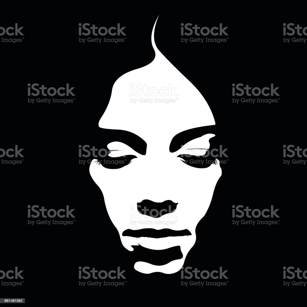 Due tone retro style poster of woman face looking down. vector art illustration