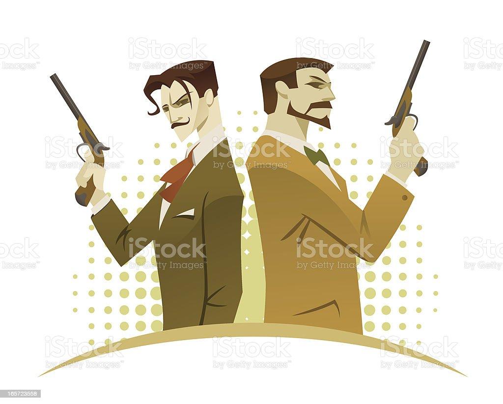 Duel of gentlemen royalty-free stock vector art