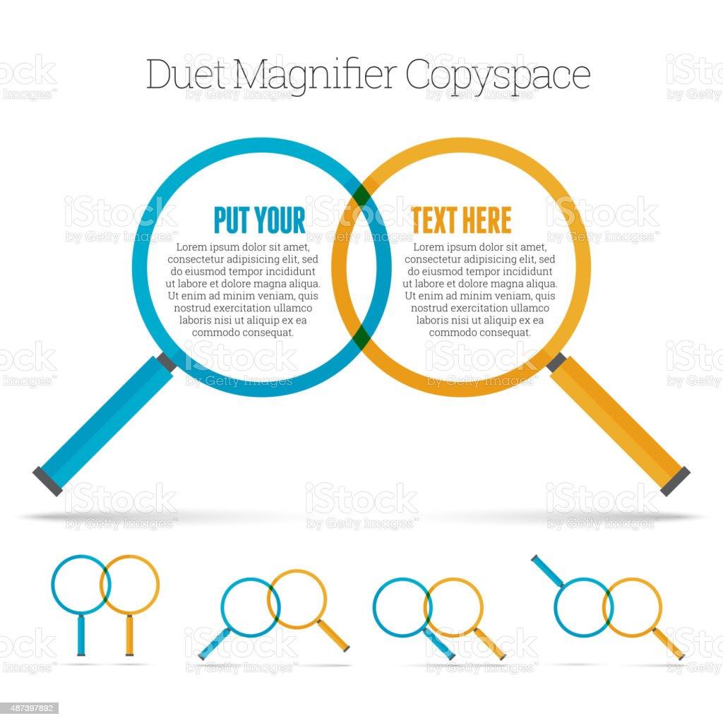 Duet Magnifier Copyspace vector art illustration