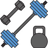 Dumbbell exercise weights gym fitness equipment vector.