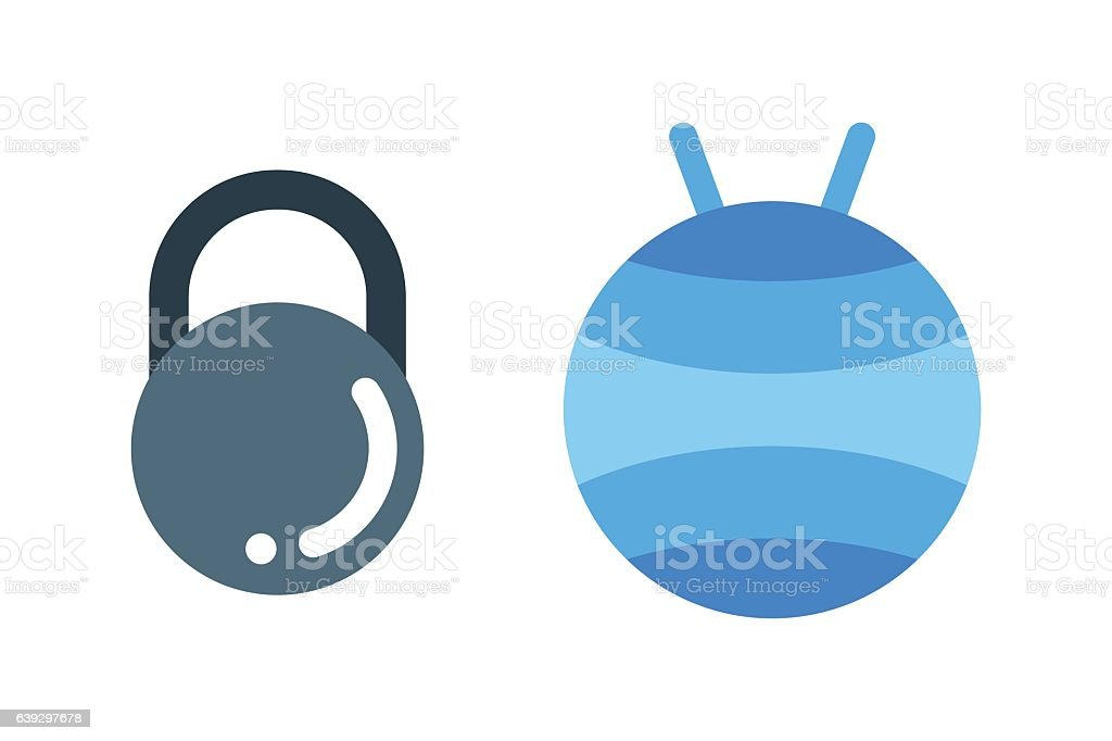 Dumbbell exercise weights gym fitness equipment vector. vector art illustration