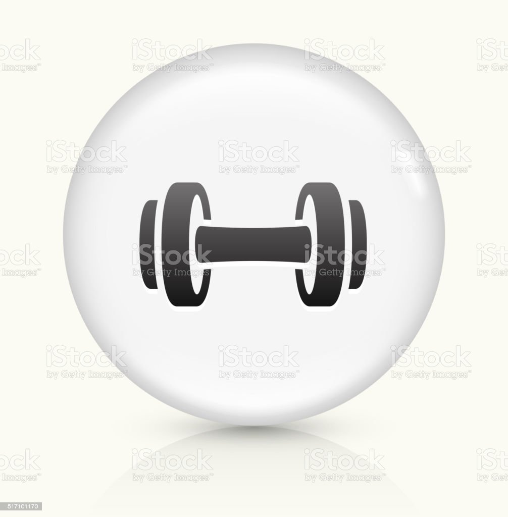 Dumbbell icon on white round vector button vector art illustration