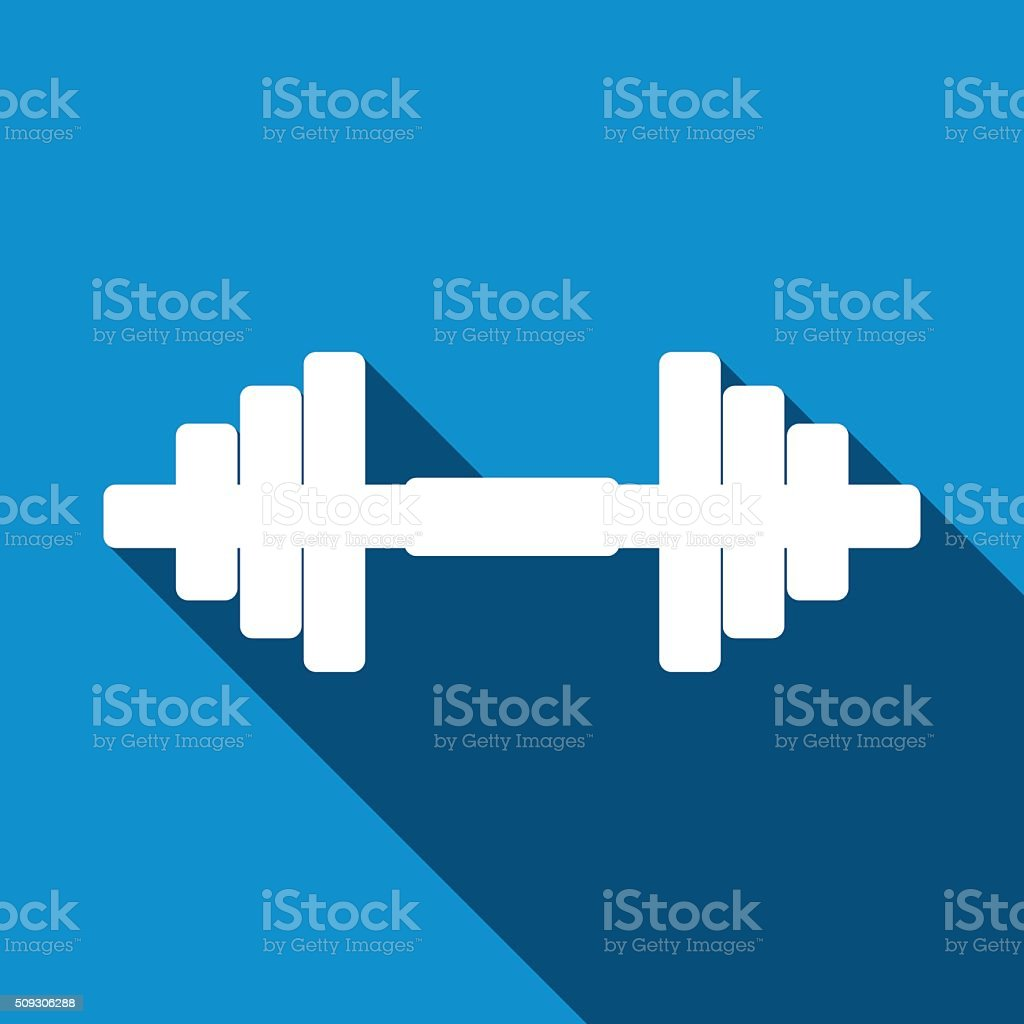 Dumbbell icon with long shadow. vector art illustration