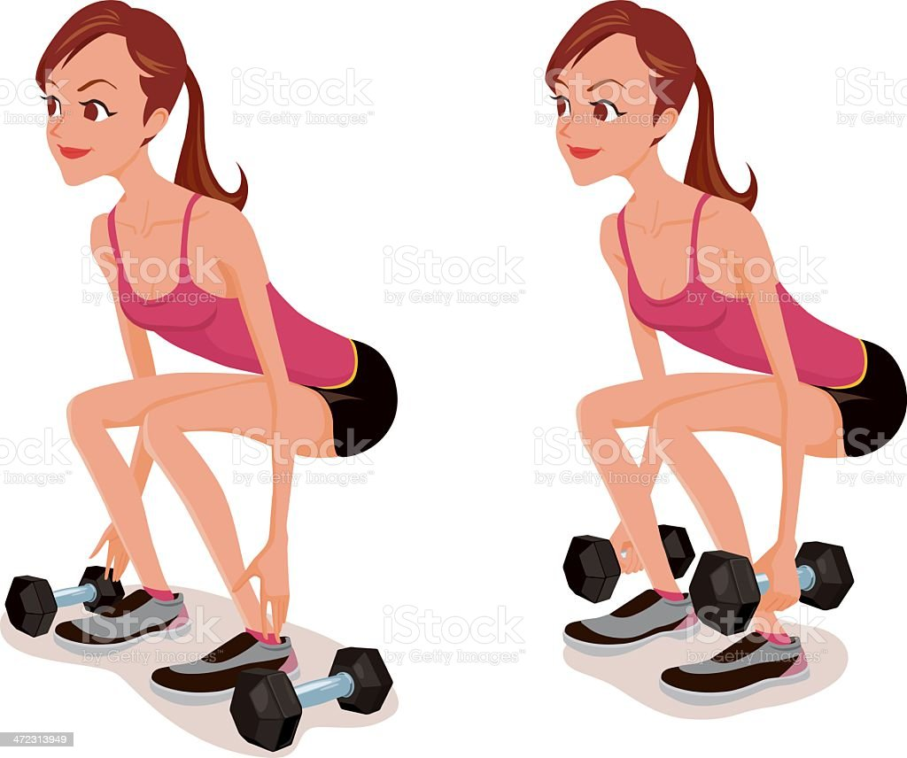 Dumbbell Squat Exercise royalty-free stock vector art