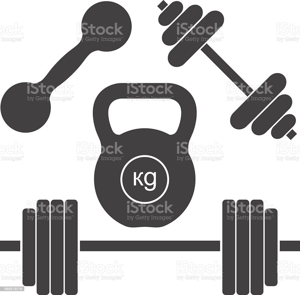 Dumbbells and barbells. Set of simple vector icons for sports. vector art illustration