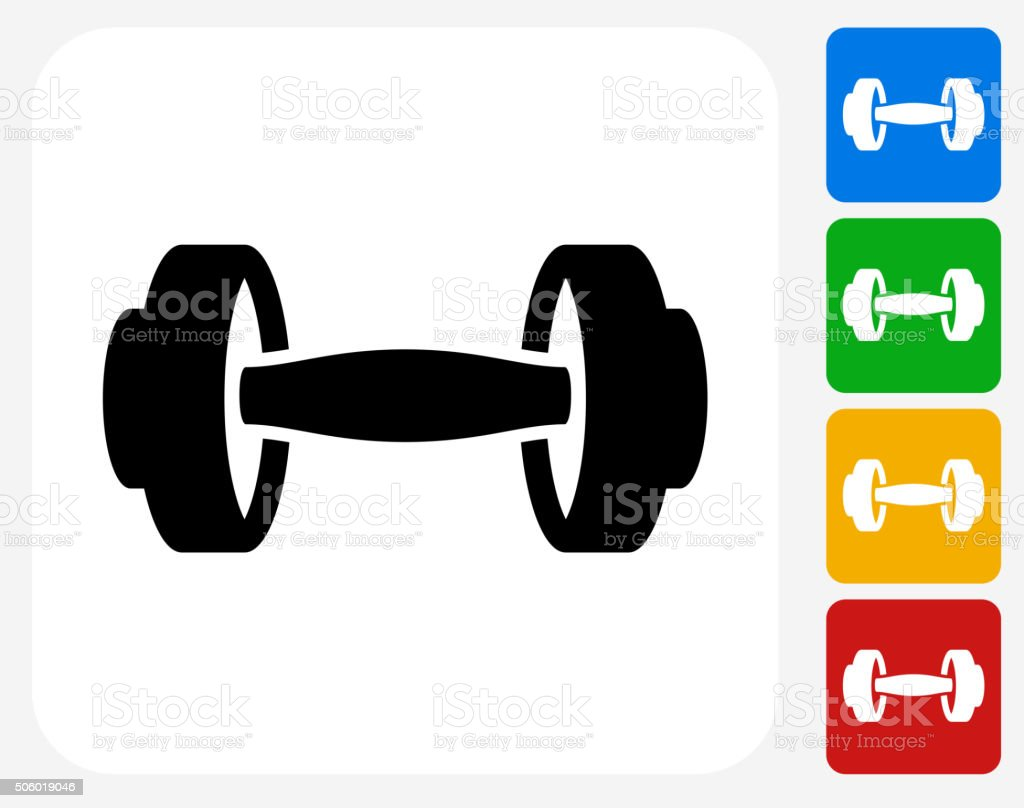 Dumbbells Icon Flat Graphic Design vector art illustration