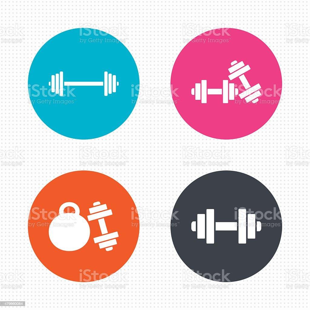 Dumbbells icons. Fitness sport symbols vector art illustration