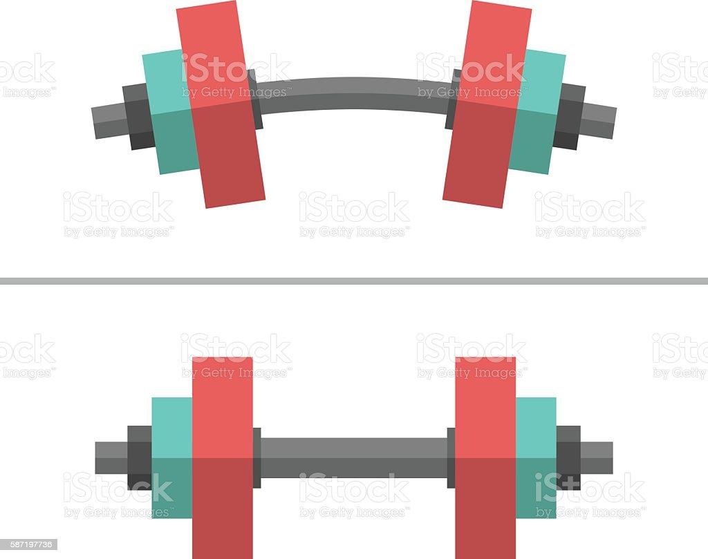 Dumbbells, normal and bent vector art illustration