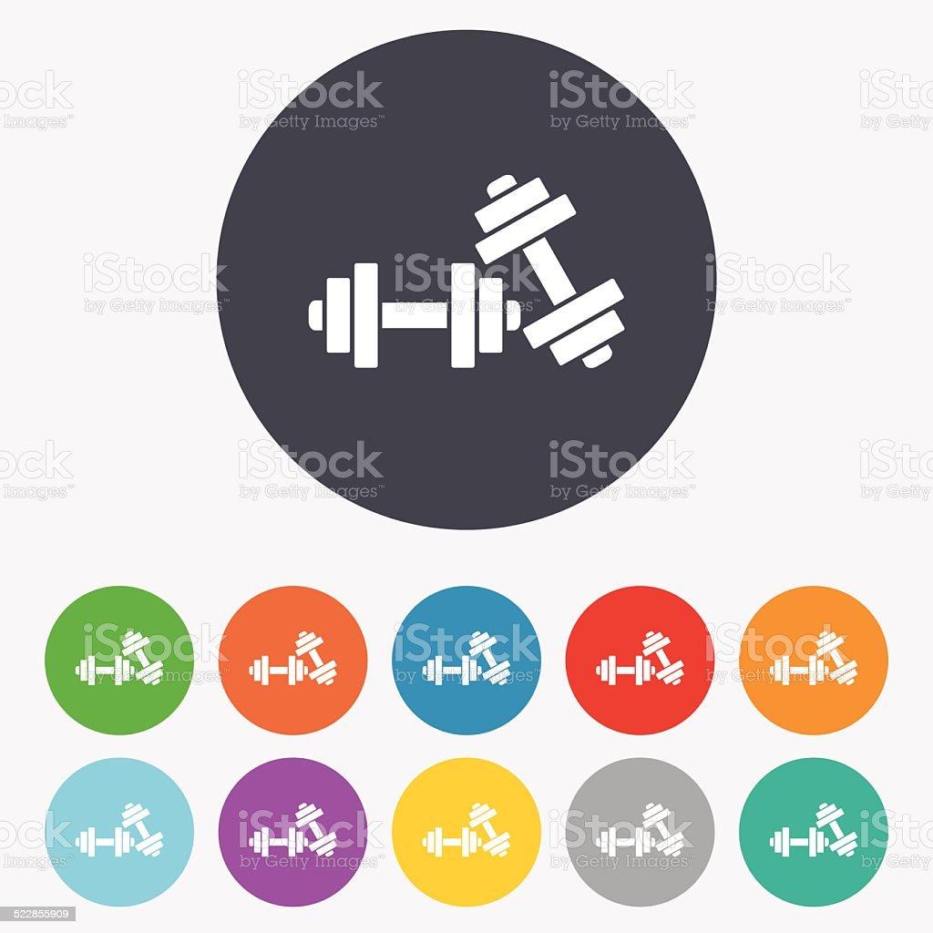 Dumbbells sign icon. Fitness sport symbol. vector art illustration