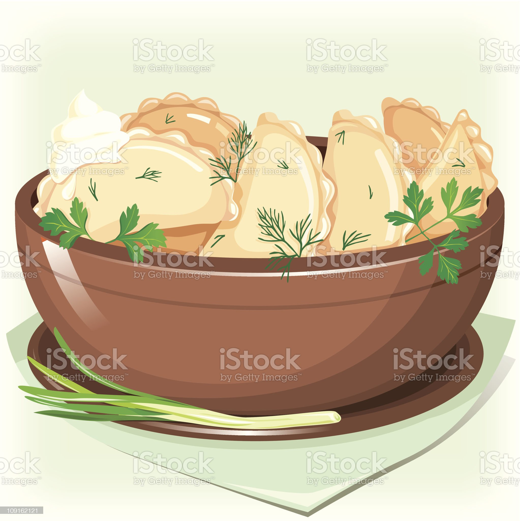 Dumpling sifting greens royalty-free stock vector art