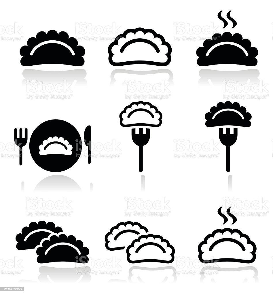 Dumplings, food vector icons set vector art illustration