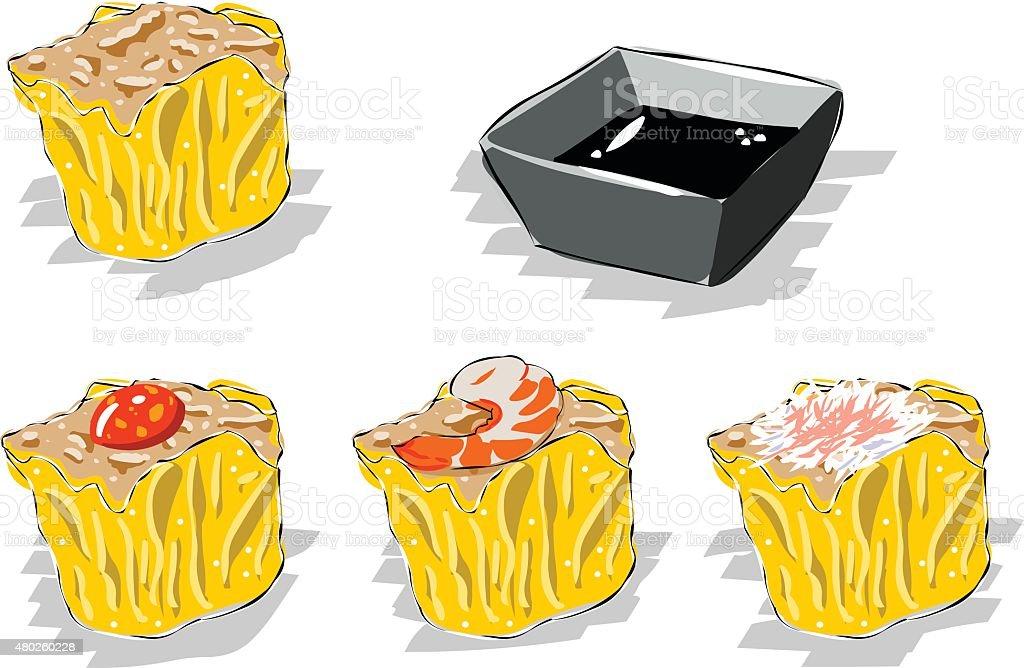 Dumplings vector art illustration