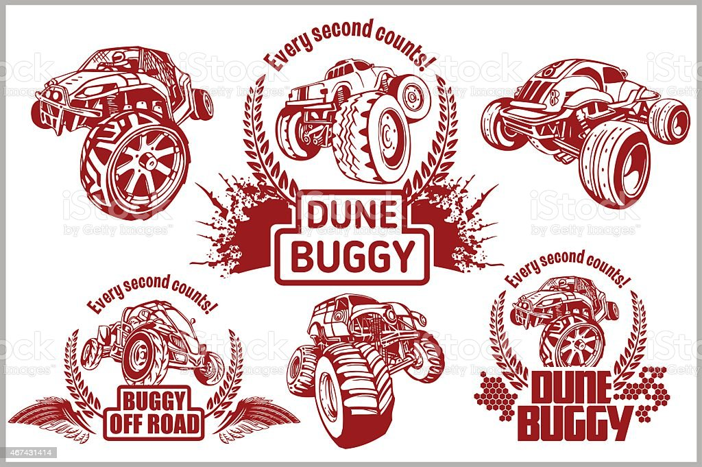 Dune buggy and monster truck - vector badge vector art illustration