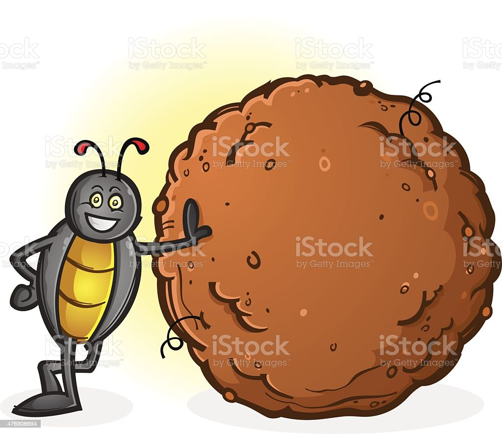 Dung Beetle with a Big Ball of Poop Cartoon Character vector art illustration