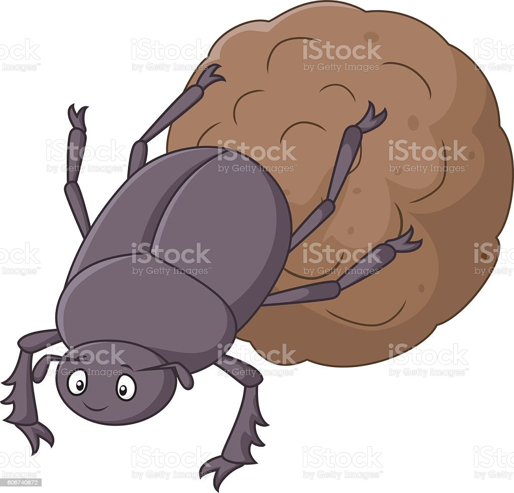 Dung Beetle with a Big Ball of Poop Cartoon vector art illustration