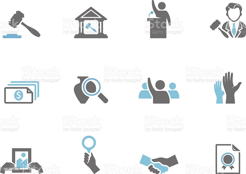 Duo Tone Icons - Auction royalty-free stock vector art