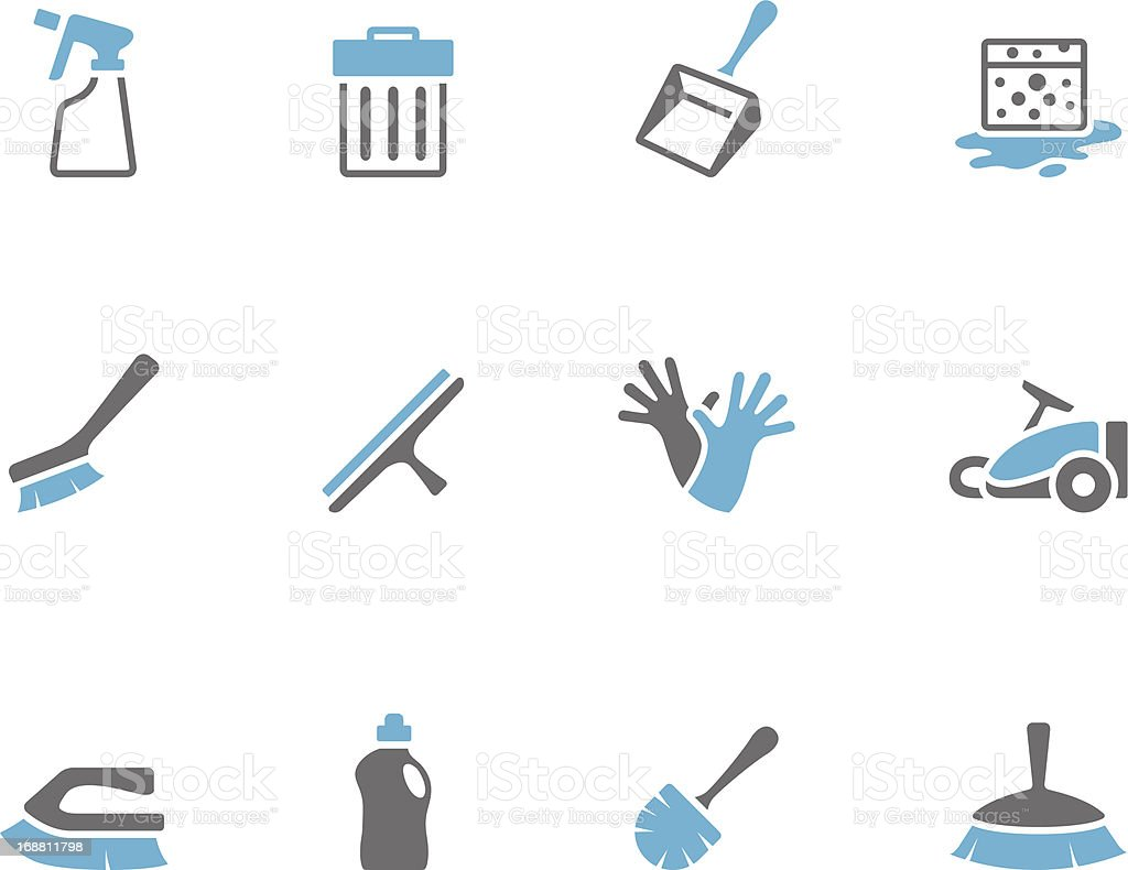 Duo Tone Icons - Cleaning Tools royalty-free stock vector art
