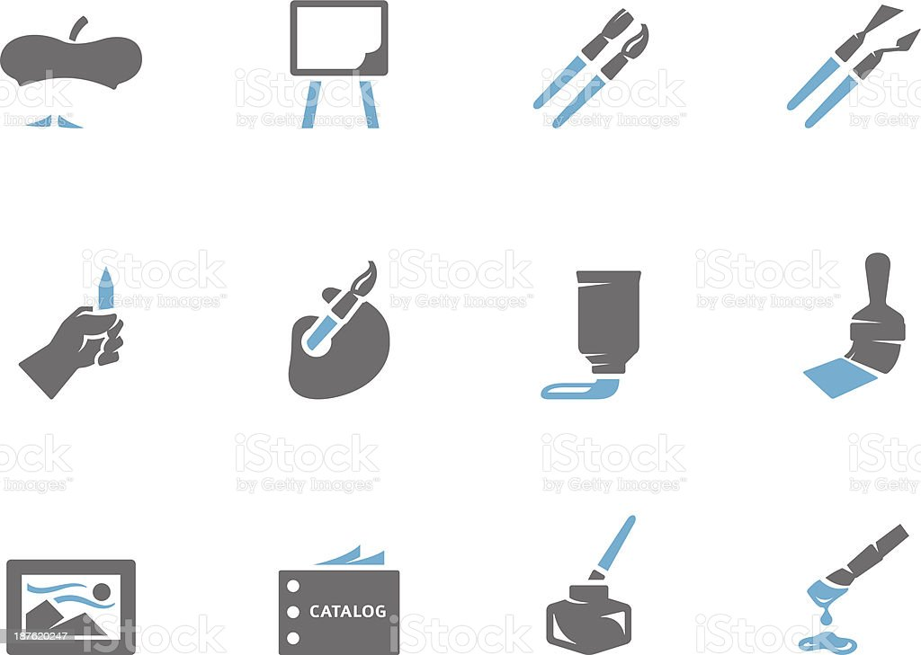 Duotone Icons - Painting Artis vector art illustration