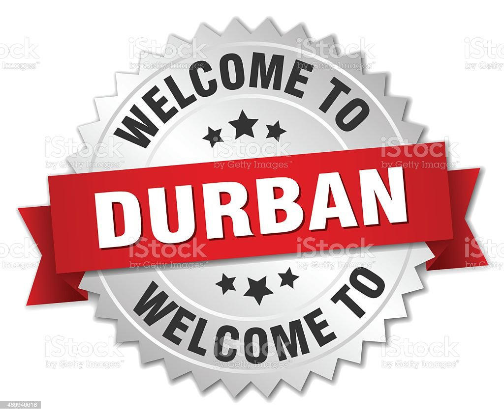 Durban 3d silver badge with red ribbon vector art illustration