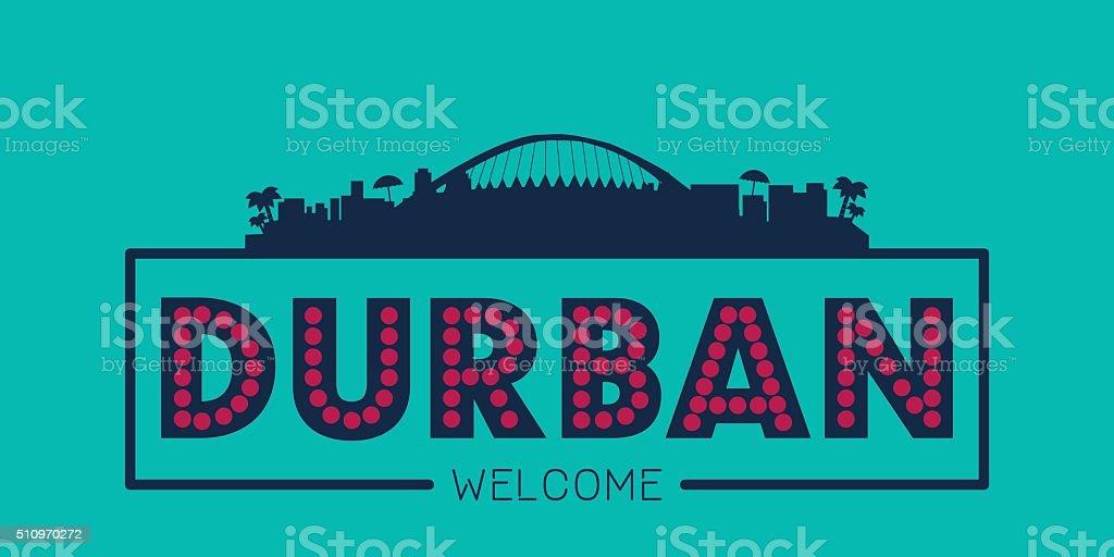 Durban city skyline typographic illustration vector art illustration