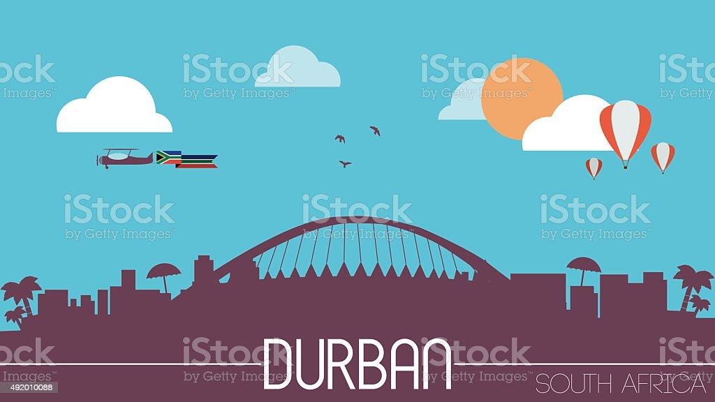 Durban city South Africa skyline silhouette vector art illustration