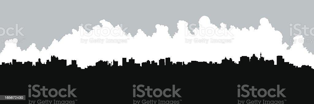 Durban Skyline Silhouette vector art illustration