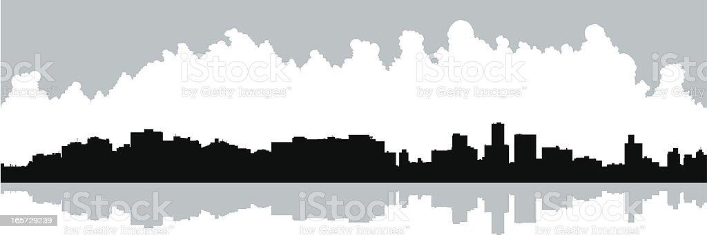Durban Waterfront Silhouette vector art illustration