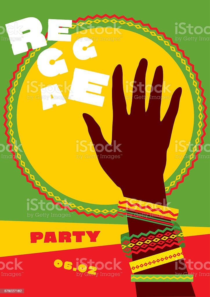 durum sun and tribal human hand with bracelets. reggae folk vector art illustration