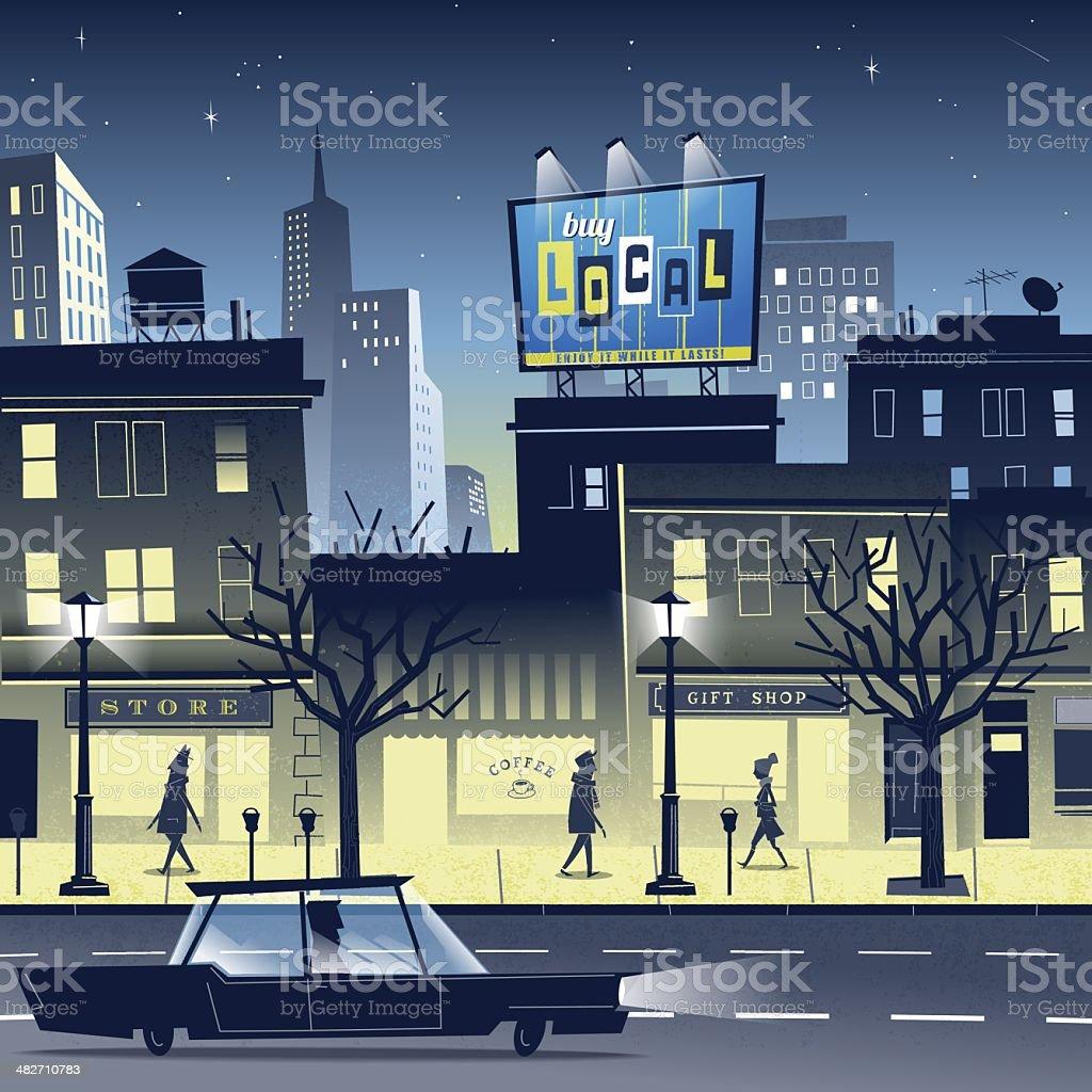 Dusk city vector art illustration