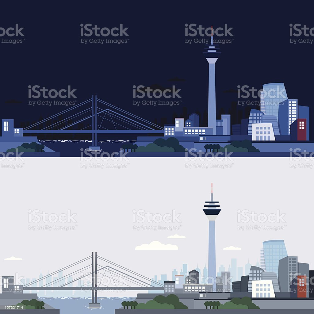 Dusseldorf skyline night and day (vector) vector art illustration