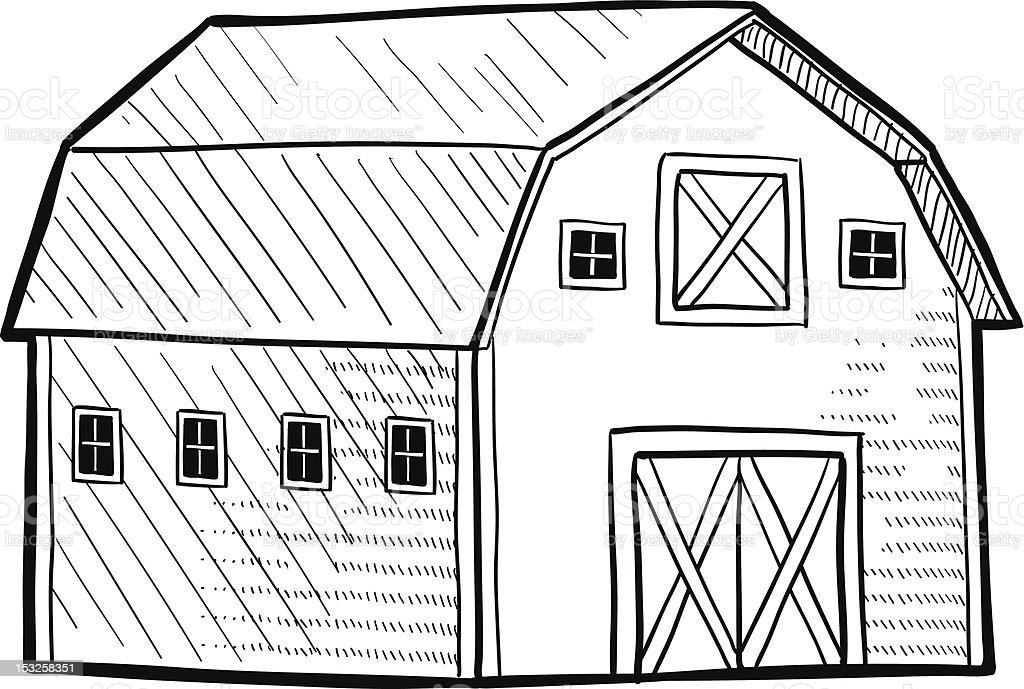 Dutch barn sketch vector art illustration