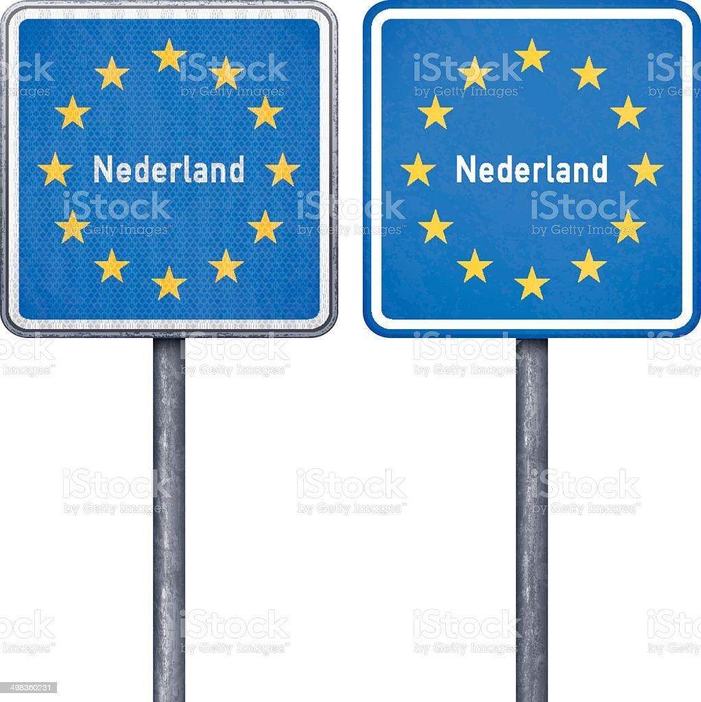 Dutch border road sign with European flag vector art illustration
