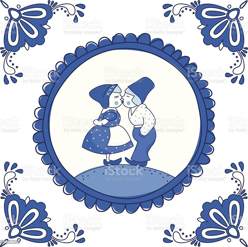 Dutch Delft blue tile with a kissing couple vector art illustration