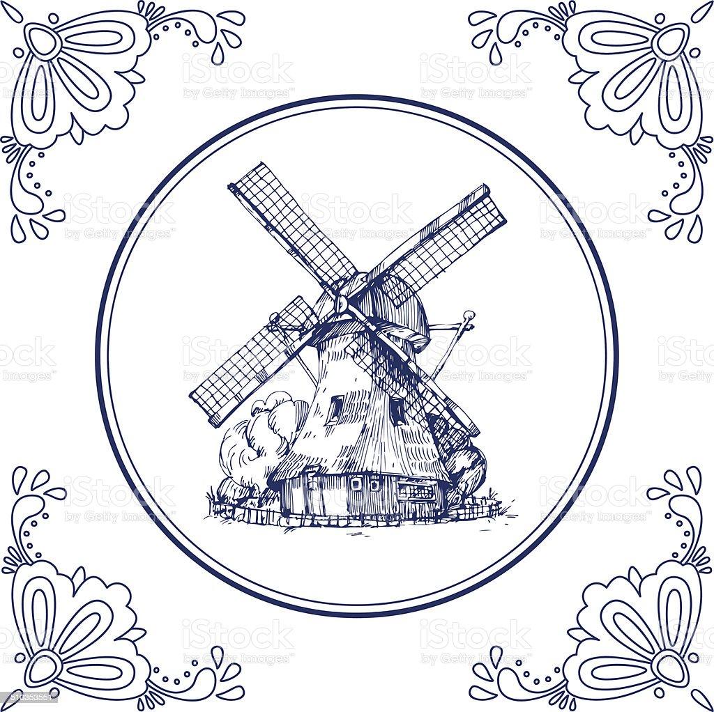 Dutch Delft blue tile with a mill vector art illustration